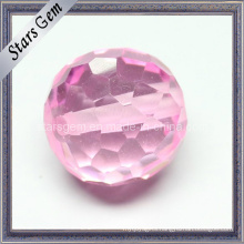 Pink Color Cubic Zirconia Checker Cut Round Ball with Hole